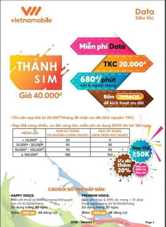Bán Thánh Sim Vietnamobile phôi 3G phôi 4G giá tốt nhất